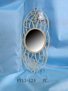 Antique Home Decoration Metal White Wall Decoration With Mirror