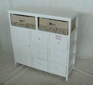 Home Storage Cabinet White-Painted Paulownia Wood With 2 Washed-Grey Maize Baskets With Liner