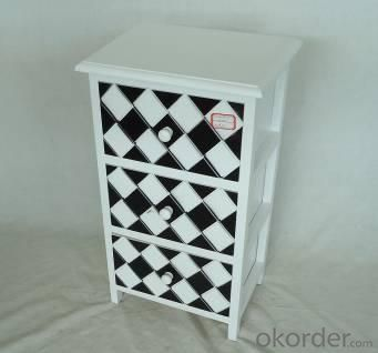 Home Storage Cabinet White-Painted Paulownia Wood With 3 Two-Tone Drawers