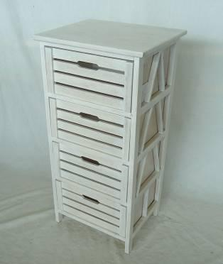 Home Storage Cabinet Roasted-White Paulownia Wood Cabinet With 4 Wood Slatted Drawers