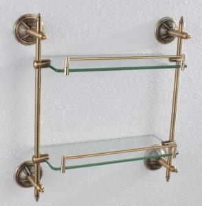 Decorative Exquisite Hardware House Bathroom Accessories Solid Brass Double Glass Shelf