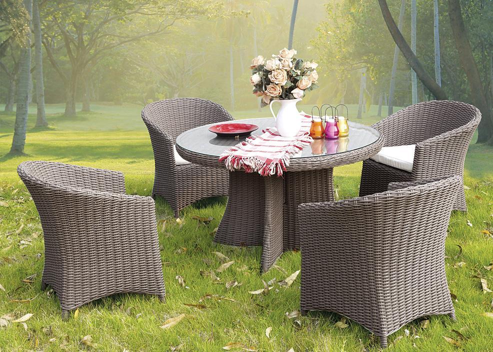 Moden PVC Rattan & Aluminum Outdoor Garden Furniture Table Set