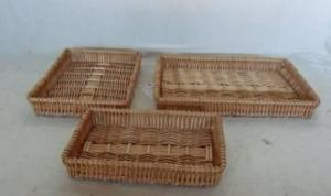 Home Storage Willow Basket Natural Willow Tray S/3