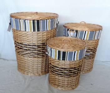 Home Storage Hot Sell Stained Woodchip Laundry Baskets With Stripe Liner S/3