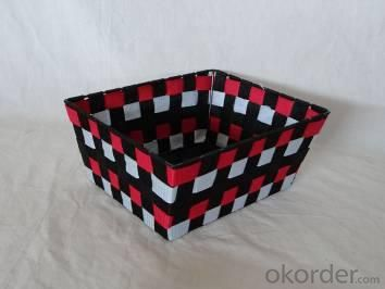 Home Storage Willow Basket Nylon Strap Woven Over Metal Three Color Frame