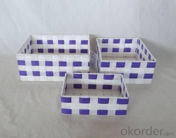 Home Storage Willow Basket Nylon Strap Woven Over Metal Frame White And Purple Baskets S/3