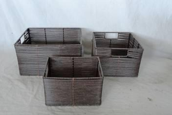 Home Storage Hot Sell Pe Rattan Woven Over Metal Frame Baskets S/3