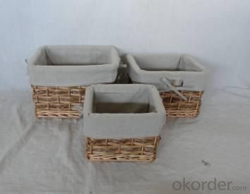 Home Storage Willow Basket Mixed Willow.Woodchip And Cattail Braid Baskets With Liner S/3