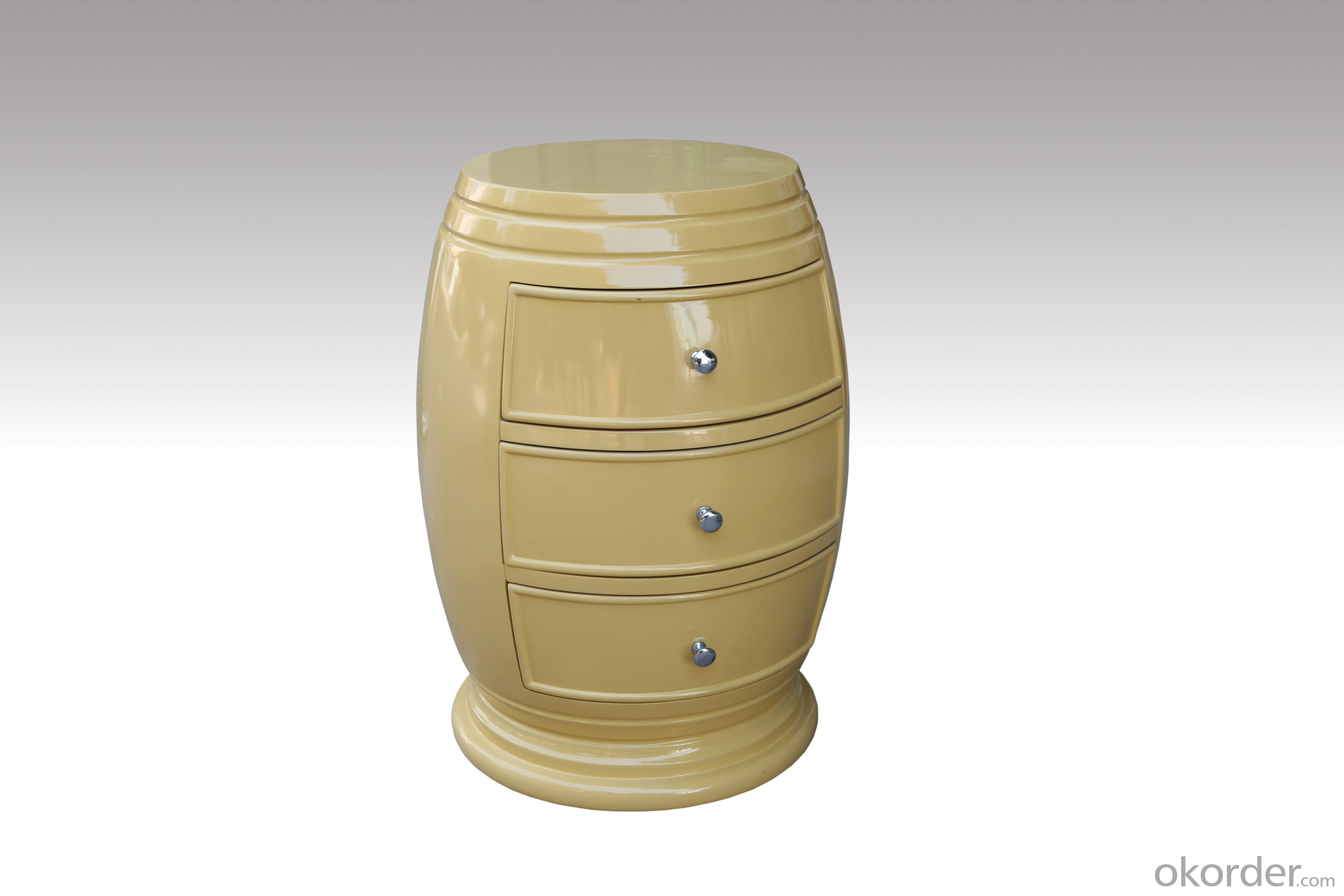 Home Furniture Classical Cream-colored Silver Foil PU High Gloss Three Round Drawer Chest MDF And Birch Solid
