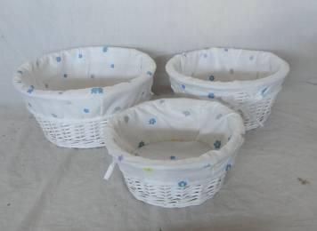 Home Storage Willow Basket White-Painted Willow Baskets With Flower Pattern Liner S/3