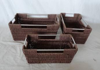 Home Storage Hot Sell Twisted Paper Woven Over Metal Frame Baskets With Stainless Tube Handles S/3