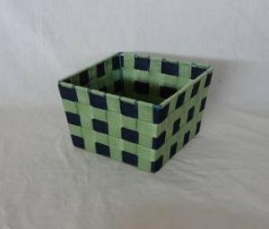 Home Storage Willow Basket Nylon Strap Woven Over Metal Frame Green And Black Basket