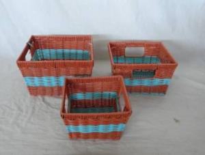 Home Storage Hot Sell Two-Tone Pp Tube Woven Over Metal Frame Baskets S/3