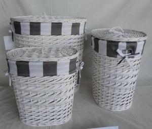 Home Storage Laundry Basket White Painted Woodchip And Willow Laundry Basket With Stripe Liner S/3