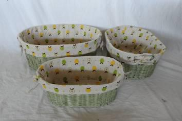 Home Storage Hot Sell Stained Maize Woven Over Metal Frame Baskets With Liner S/3