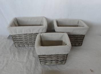 Home Storage Willow Basket Washed-Grey Willow Baskets With Liner S/3