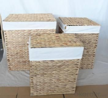 Home Storage Willow Basket Natural Waterhyacinth Woven Over Metal Frame Hamper With Sway Lid Liner S/3