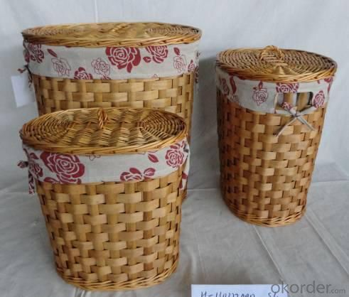 Home Storage Laundry Basket Stained Woodchip Laundry Basket With Liner S/3
