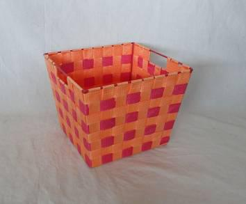 Home Storage Willow Basket Nylon Strap Woven Over Metal Frame Orange And Red Basket