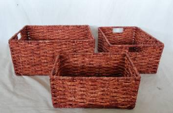Home Storage Willow Basket Stained Maize Woven Over Metal Frame Baskets S/3