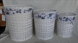 Home Storage Laundry Basket White Painted Woodchip And Willow Laundry Basket With Liner S/3
