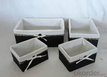 Home Storage Hot Sell Flat Paper Woven Over Metal Frame Baskets With Liner S/4