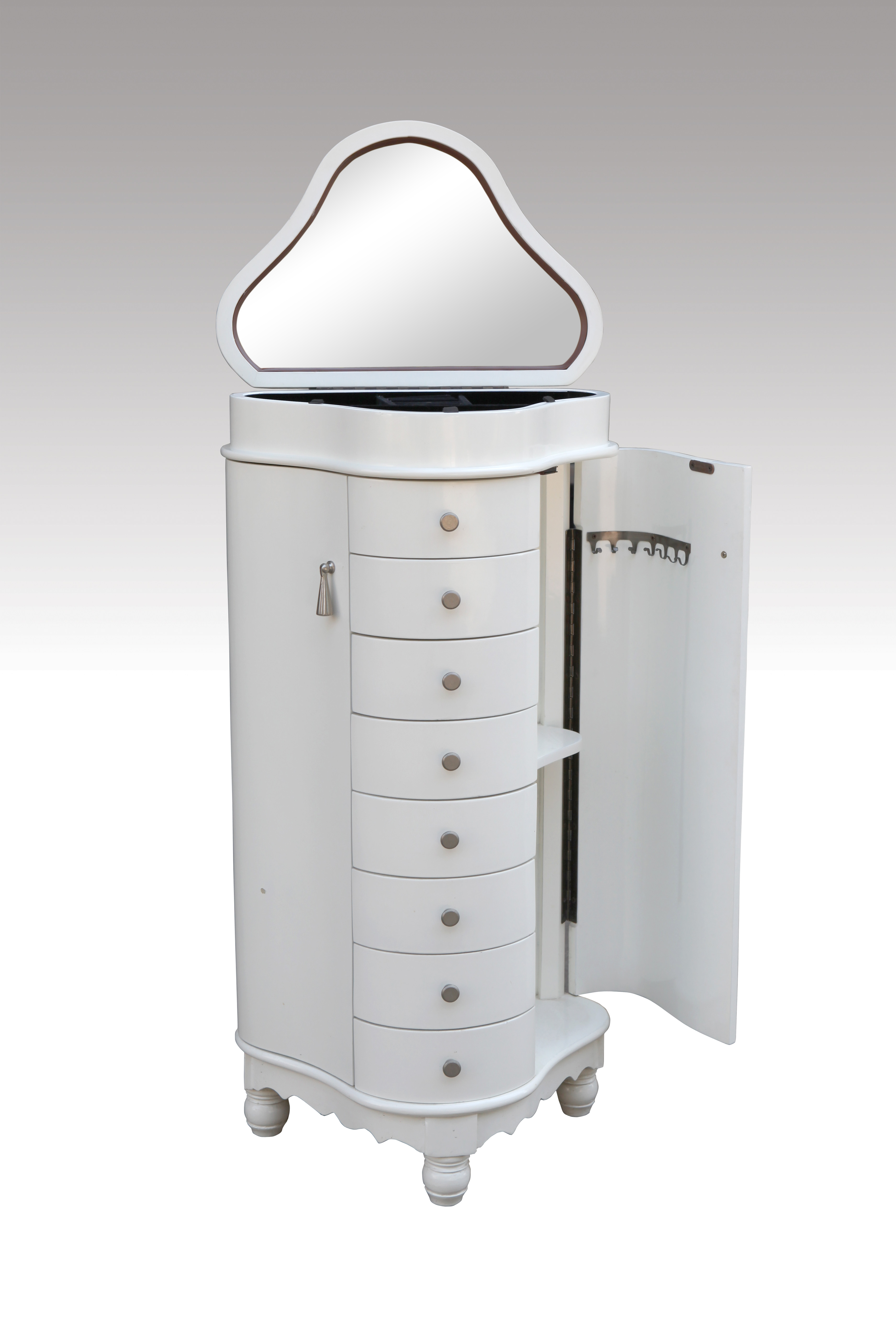 Home Furniture Classical Jewelry Drawer White PU High Gloss                 MDF MDF And Birch Solid