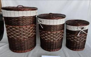 Home Storage Laundry Basket Deep Brown Painted Woodchip And Willow Laundry Basket With Liner S/3