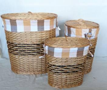 Home Storage Hot Sell Stained Woodchip Laundry Baskets With Liner And Cover S/3