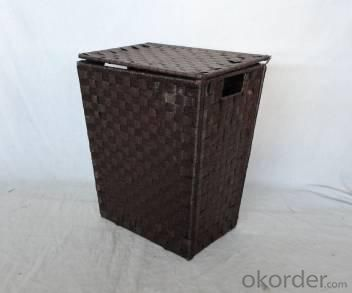 Home Storage Willow Basket Foldable Flat Paper Woven Metal Tube Dark Color Hamper