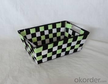 Home Storage Willow Basket Nylon Strap Woven Over Metal Frame Black/White/Green Basket