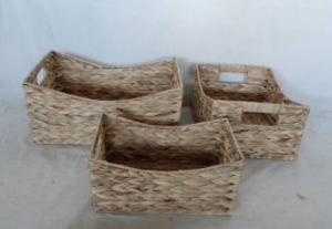 Home Storage Willow Basket Natural Waterhyacinth Woven Over Metal Frame Baskets S/3