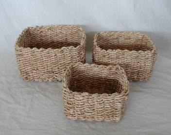 Home Storage Hot Sell Soft Woven Maize Square Box S/3