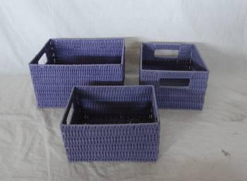 Home Storage Hot Sell Pp Tube Woven Over Metal Frame Rectangle Shape Baskets S/3