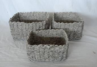 Home Storage Hot Sell Soft Woven Washed-Grey Maize Baskets S/3
