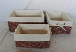 Home Storage Willow Basket Stained Maize Braid Woven Over Metal Frame Baskets With Liner S/3