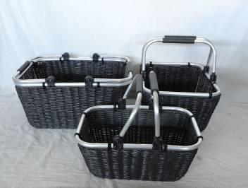 Home Storage Hot Sell Pp Tube Woven Over Metal Frame Baskets With Aluminium Sway Handles S/3