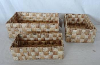 Home Storage Hot Sell Natural Waterhyacinth And Maize Braid Woven Over Metal Frame  Squal Baskets S/3