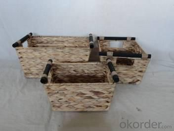 Home Storage Willow Basket Natural Waterhyacinth Woven Over Metal Frame Baskets With Wood Handle S/3