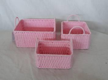 Home Storage Hot Sell Twisted Paper Woven Over Metal Frame Baskets S/3