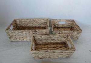 Home Storage Basket Waterhyacinth Woven Over Metal Frame Baskets S/3