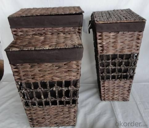 Home Storage Laundry Basket Stained Maize And Waterhyacinth Dark Brown Laundry Baskets With Liner S/3