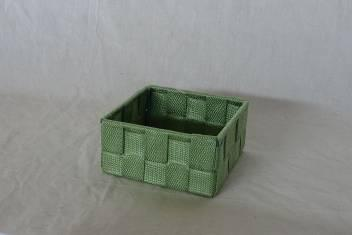 Home Storage Willow Basket Nylon Strap Woven Over Metal Frame Light Green Basket