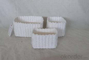 Home Storage Hot Sell Soft Woven Paper Rope White Painted Box S/3