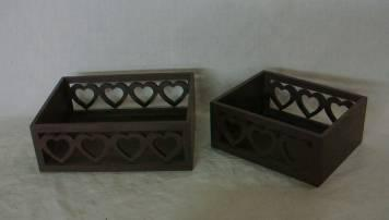 Home Storage Willow Basket Painting Plywood Box S/2