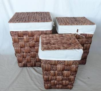 Home Storage Willow Basket Stained Waterhyacinth And Maize Braid Woven Over Metal Frame Hampers With Lid S/3