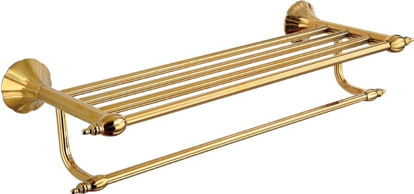 Hardware House Bathroom Accessories Rome Series Titanium Gold Bathroom Shelf With Towel Bar