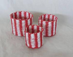 Home Storage Hot Sell Soft Woven Paper Rope Bright Colors Box S/3