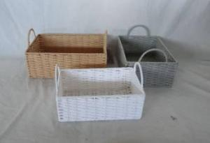 Home Storage Hot Sell Twisted Paper Woven Over Metal Frame Three Colors Baskets S/3