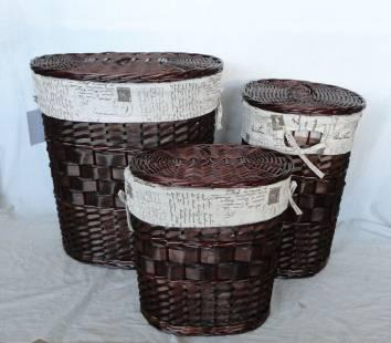 Home Storage Hot Sell Stained Woodchip Laundry Baskets With Liner S/3